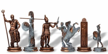 Metal Mythological Pieces with Chess Sets in Detailed Copper