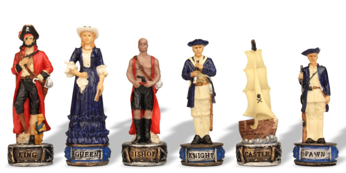 Queen's Navy verses Pirates Historical Chess Piece Sets