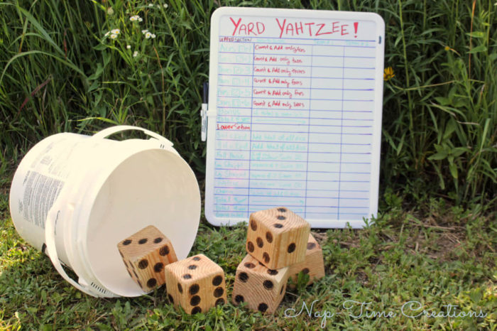 Play Yahtzee Outdoors with Giant DIY Blocks
