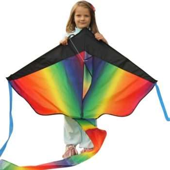 Sturdy rainbow kite for kids and adults for fun outdoor play!